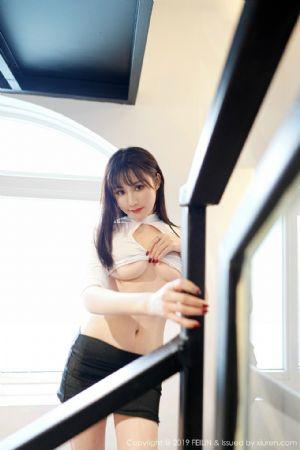 [FeiLin嗲囡囡]VOL.210_嫩模Celina青妍露半球私房白色内衣配黑短裙半脱露翘臀诱惑写真[41P]