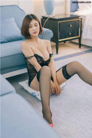 黑丝美女闫盼盼情趣吊带写真美乳诱惑写真[14P]